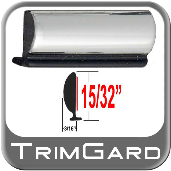 """15/32"""" Wide Wheel Molding Trim Black-Chrome Sold by the Foot Trim Gard® #WLS01-01"""