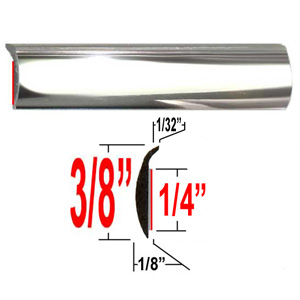 """L"" Style Door Edge Guard Chrome Sold by the Foot Trim Gard® #PTC01-01"