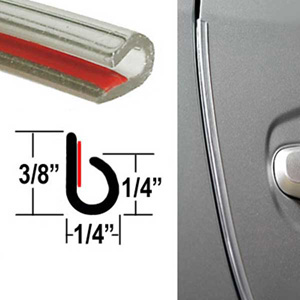 """""""J"""" Style Door Edge Guard Clear Sold by the Foot Trim Gard® #NC00-01"""