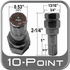 "Custom Wheel Accessories Small 10-Point Lug Nut Key fits 10-Point Socket Style Tuner Lug Nuts 1/2"" Tip"