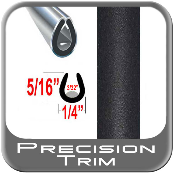 """U"" Style Car Door Guards Black (Flat) (Trim11) Sold by the Foot Precision Trim® #1150-11-01"