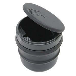 "Genuine Toyota Car Ashtray / Change Cup Black Plastic Cup w/ Lid w/ Rubber ""Gripper"" Boot #74101-AE010"