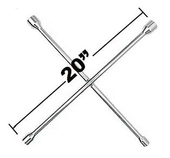 "4-Way Lug Wrench Tire Iron 20"" x 20"" Length"