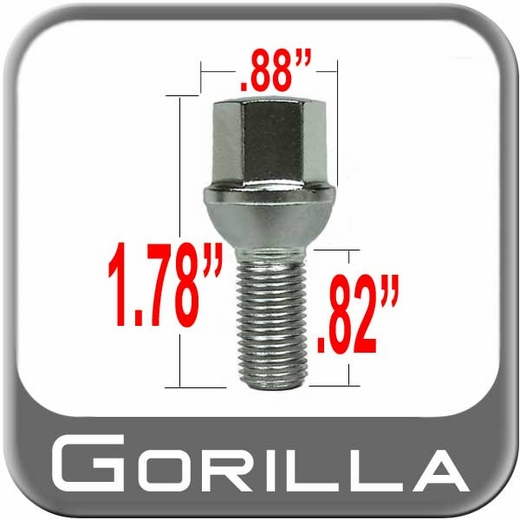 "Gorilla Bolt Lug 0.82"" Thread Length Ball/Radius Seat, Chrome 12mm x 1.50 Thread"