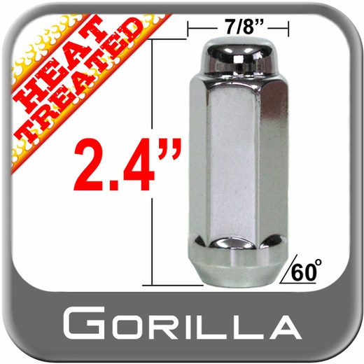 "Gorilla Chrome Lug Nuts Acorn Bulge Seat, Extra Long, Heat Treated 7/8"" Hex Head 9/16"" x 18 Left Hand Thread"