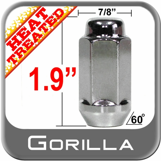 "Gorilla Chrome Lug Nuts Acorn Bulge Seat, Long, Heat Treated 7/8"" Hex Head 1/2"" x 20 Thread"