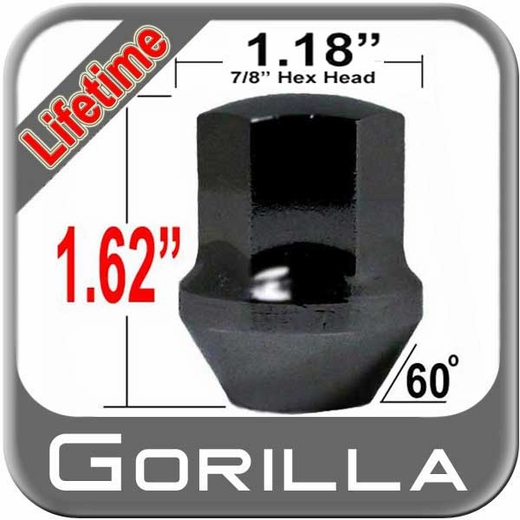 Gorilla® 14mm x 1.5 Lifetime Camaro/Dodge/Jeep Lug Nuts Cone/Tapered (Large Bulge 60°) Seat Right Hand Thread Black Chrome Sold Individually #66148BDX
