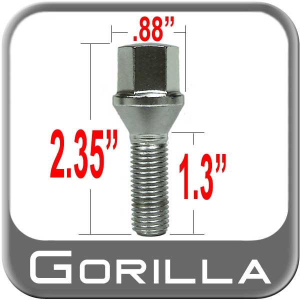 Gorilla® 12mm x 1.5 Lug Bolt Cone/Tapered (60�) Seat Right Hand Thread Chrome Sold Individually #17015