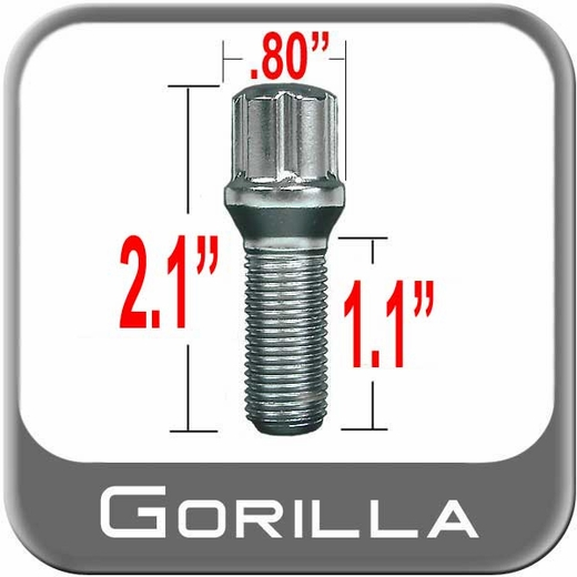 "Gorilla Lug Bolt Small Diameter, 1.10"" Thread Length Cone Seat, Chrome 12mm x 1.50 Thread"