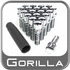 "Gorilla Lug Bolts Small Diameter, 1.10"" Thread Length Cone Seat, Chrome 12mm x 1.50 Thread"