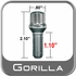"Gorilla Lug Bolts Small Diameter, 1.10"" Thread Length Cone Seat, Chrome, Set of 16 w/Key 12mm x 1.50 Thread"