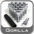"Gorilla Lug Bolts Small Diameter, 1.10"" Thread Length Cone Seat, Chrome, Set of 20 w/Key 12mm x 1.50 Thread"