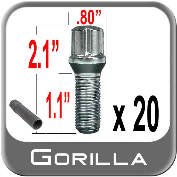 Gorilla® 12mm x 1.5 Lug Bolts Cone/Tapered (60�) Seat Right Hand Thread Chrome 20 Bolts w/Key #17179SD-20
