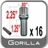 "Gorilla Lug Bolts Small Diameter, 1.25"" Thread Length Cone Seat, Chrome 12mm x 1.50 Thread"