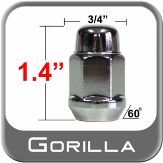Gorilla® 10mm x 1.25 Chrome Lug Nuts Cone/Tapered Bulge (60°) Seat Right Hand Thread Chrome Sold Individually #41118