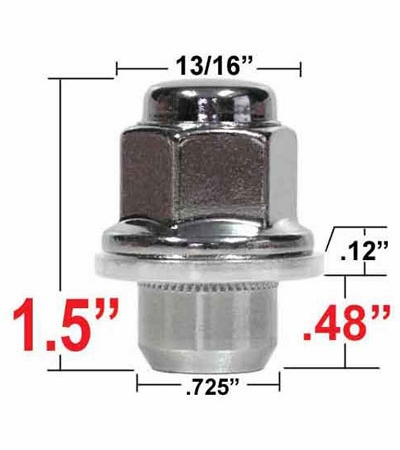 Gorilla® 12mm x 1.5 Toyota Lug Nut Mag (Flanged) Seat Right Hand Thread Chrome Sold Individually #73138T