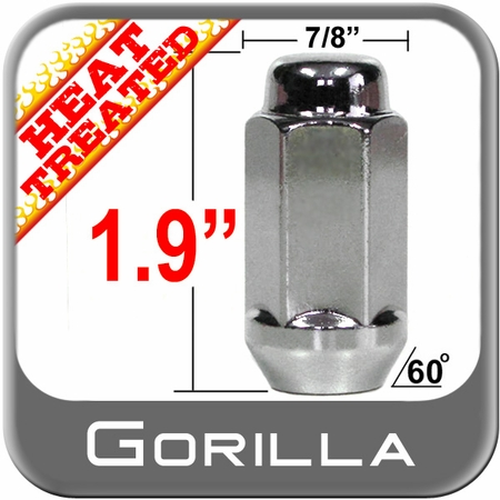 """Gorilla® 9/16"""" x 18 Chrome Lug Nuts Cone/Tapered Bulge (60°) Seat Right Hand Thread Chrome Sold Individually #76198HT"""