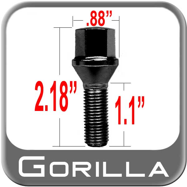 Gorilla® 12mm x 1.5 Stud Bolt Cone/Tapered (60�) Seat Right Hand Thread Black Chrome Sold Individually #17179BC