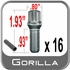 "Gorilla Stud Bolts Small Diameter, 0.93"" Thread Length Cone Seat, Chrome 12mm x 1.50 Thread"