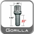 "Gorilla Stud Bolts Small Diameter, 0.93"" Thread Length Cone Seat, Chrome, Set of 16 w/Key 12mm x 1.50 Thread"