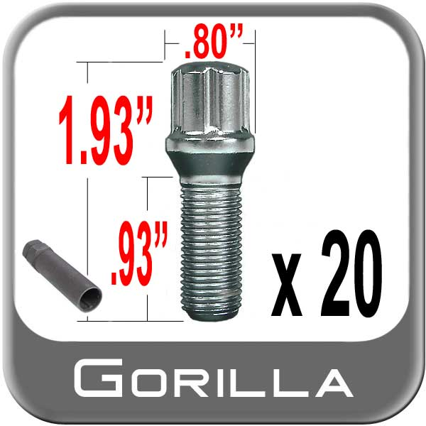 Gorilla® 12mm x 1.5 Stud Bolts Cone/Tapered (60°) Seat Right Hand Thread Chrome 20 Bolts w/Key #17100SD-20