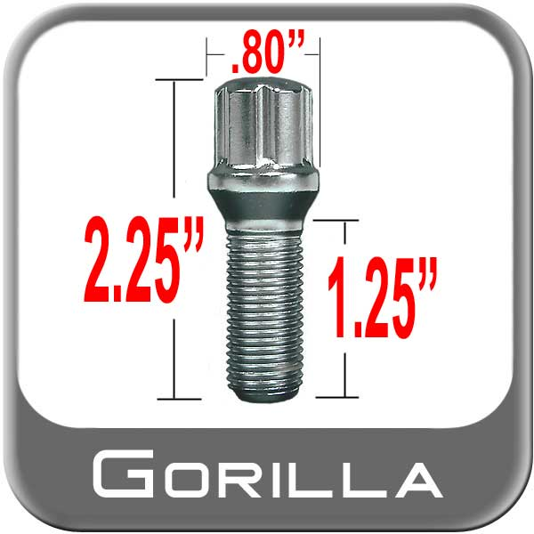 Gorilla® 12mm x 1.5 Wheel Bolt Cone/Tapered (60°) Seat Right Hand Thread Chrome Sold Individually #17015SD