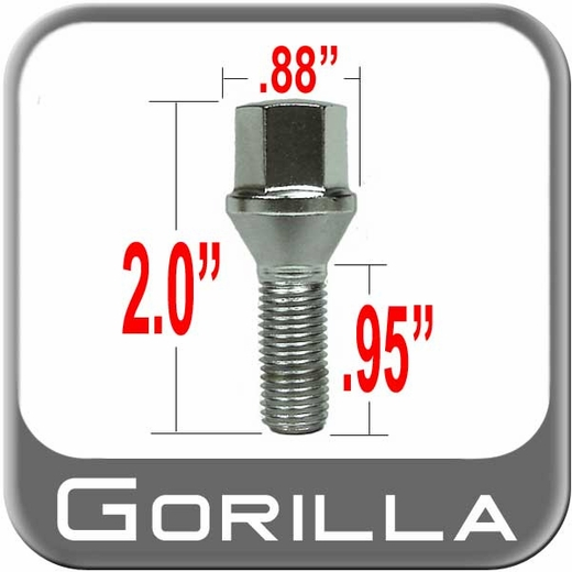 "Gorilla Wheel Lug Bolt 0.95"" Thread Length Cone Seat, Chrome 12mm x 1.50 Thread"