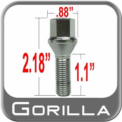 "Gorilla Wheel Lug Bolt 1.10"" Thread Length Cone Seat, Chrome 12mm x 1.50 Thread"