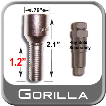 Gorilla® 12mm x 1.5 Wheel Lug Bolt Cone/Tapered (60°) Seat Right Hand Thread Chrome Sold Individually #24138