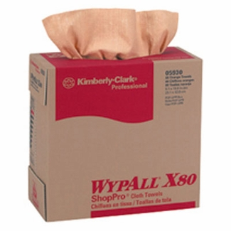Kimberly Clark Wypall X80 ShopPro Towel Pop-up Box Orange/Red 80 Sheets #5930