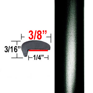 """L"" Style Door Edge Guards Matte Black (CP48) Sold by the Foot ColorTrim Plastics® #10-48"