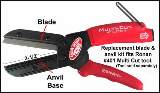"""Ronan Molding Cutter Replacement Blades 3-1/2"""" Blades w/Anvil Base Set of 3 #40178"""