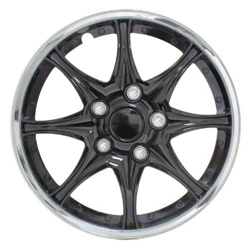"Pilot Automotive 14"" Black Hub Caps Black w/Chrome Trim, 8-Spoke"