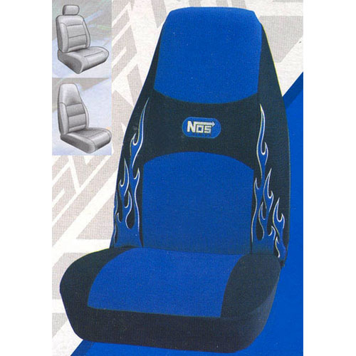 "Plasticolor Blue NOS Seat Cover ""NOS"" Racing Blue w/Flames & Logo on Black ""NOS"" Logo Sold Individually #6501R02"