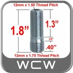 12mm x 1.75 + 12mm x 1.50 Wheel Stud
