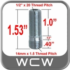 "14mm x 1.50 + 1/2"" Wheel Stud"