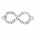 Silver Plated Brass Rhinestone INFINITY Link (1PC)