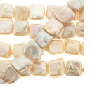 Natural Pink 9mm Square Coin Pearl Bead Strand