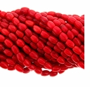 Red Coral 12x6mm Barrel Beads 16 Inch Strand