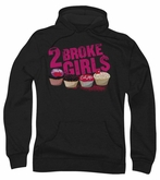2 Broke Girls Hoodie Sweatshirt Cupcakes Black Adult Hoody Sweat Shirt