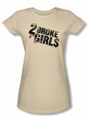 2 Broke Girls Juniors T-shirt TV Show Pocket Change Cream Tee Shirt