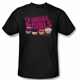 2 Broke Girls Shirt Cupcakes Adult Black Tee T-Shirt