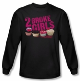 2 Broke Girls Shirt Cupcakes Long Sleeve Black Tee T-Shirt