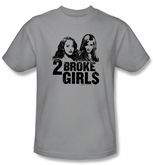 2 Broke Girls T-shirt TV Show Broke Girls Adult Silver Tee Shirt