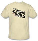 2 Broke Girls T-shirt TV Show Pocket Change Adult Cream Tee Shirt