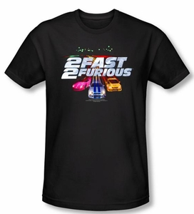 2 Fast 2 Furious Shirt Movie Logo Black Slim Fit Tee T-Shirt