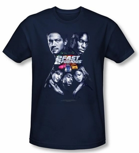 2 Fast 2 Furious Shirt Movie Poster Navy Blue Slim Fit Tee T-Shirt