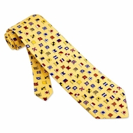 A-Z International Flags Tie Yellow Necktie Mens Occupational Neck Tie