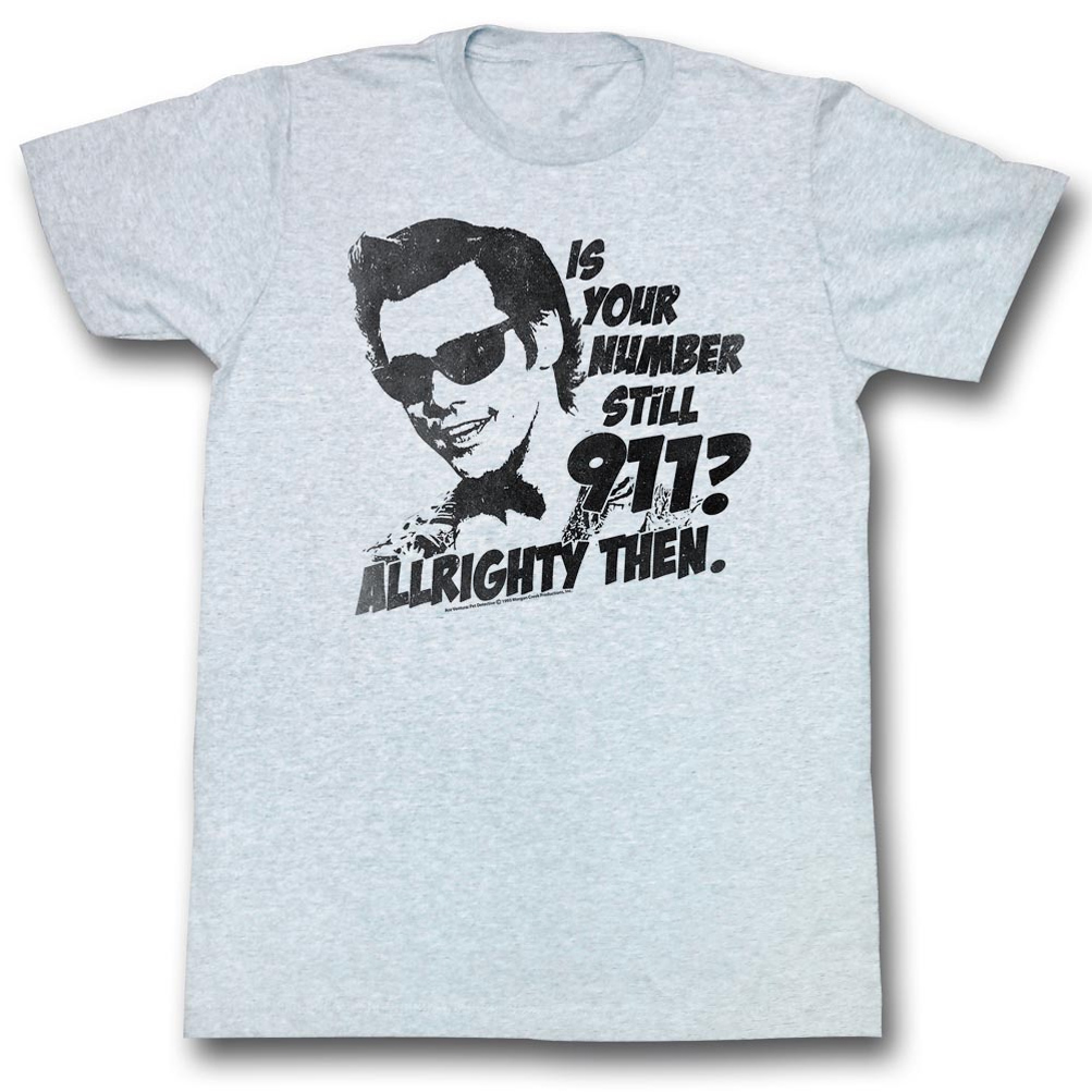 ... Shirt Nine One One Adult Grey Heather Tee T-Shirt - Ace Ventura Shirts
