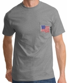 American Shirt USA Waving Flag Embroidered Patch Pocket Print Heather